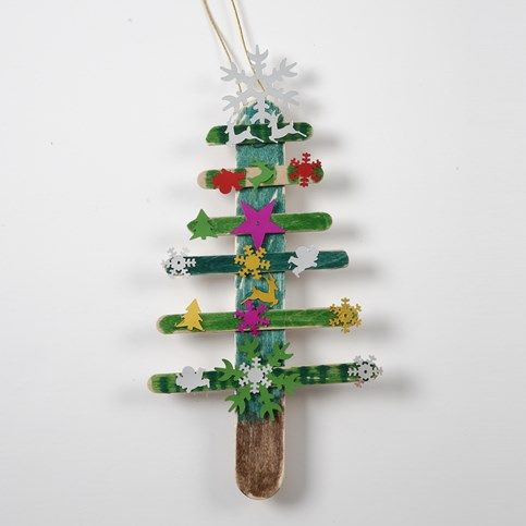 13374 A Christmas Tree made from painted Ice Lolly Sticks with Sequins