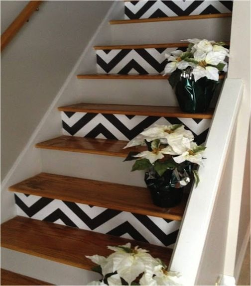 Pattern on every other step. So cute. Probably wouldn't use chevron but it still looks nice.
