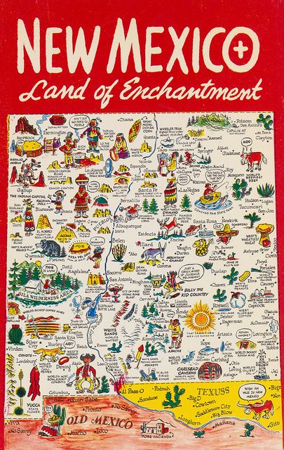 Funny map of New Mexico, Land of Enchantment by The Pie Shops Collection via Flickr