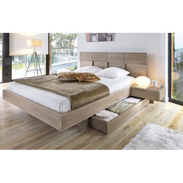 SLK 1:Storage Bed/ zwevend / expedit ipv  hoofdbord/+uitschuifbare nachttafeltjes + uitklapbare plank voor bagage + evt ledstrip onder bed / witte eik
