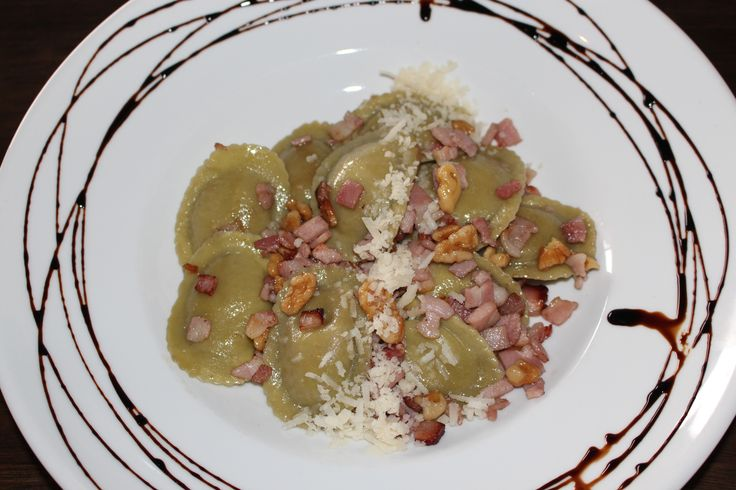 Our Leek and Walnut Tortelli - tortelli sauteed in New Zealand olive oil with bacon and walnuts.