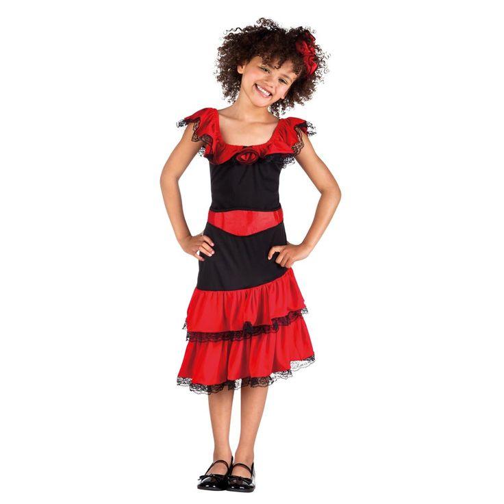 Verkleed je als een mooie Spaanse danseres met deze complete set. Inhoud: haaraccessoire en jurk. Brandvertragend. Afmeting: geschikt voor kinderen van 4 – 6 jaar - Kinderkostuum Spaanse Danseres - S