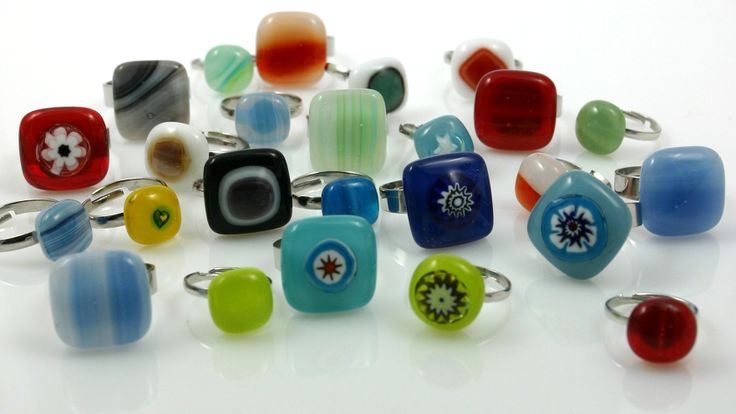 Rings made of fused glass
