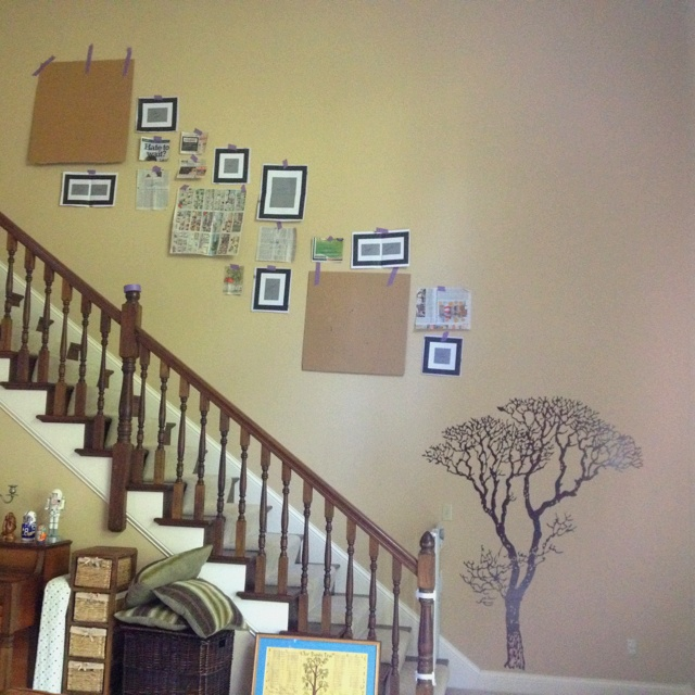 Finally use the Pinterest idea to plan out my picture hanging!!