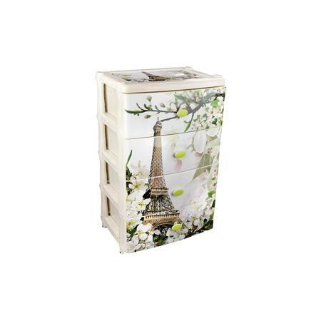 """Alternativa Комод широкий """"Весна в Париже"""" 4-х секцион., Alternativa  — 2449р.  Характеристики:  • Предназначение: для кухни, ванной, спальни, прихожей • Пол: универсальный • Материал: пластик • Цвет: белый, зеленый, серый, красный • Размер (Д*Ш*В):  42,5*56*90,5 см • Вес: 6 кг 200 г • Количество секций: 4 шт. • Тип ящиков: выдвижные, с ручками • В комплекте имеется инструкция по сборке • Форма: прямоугольный • Особенности ухода: разрешается мыть теплой водой  Комод широкий """"Весна в Париже""""…"""