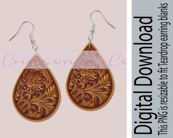 Tooled Leather Sublimation Design Png For Tear Drop Earrings Etsy Leather Tooling Teardrop Earrings Etsy Earrings
