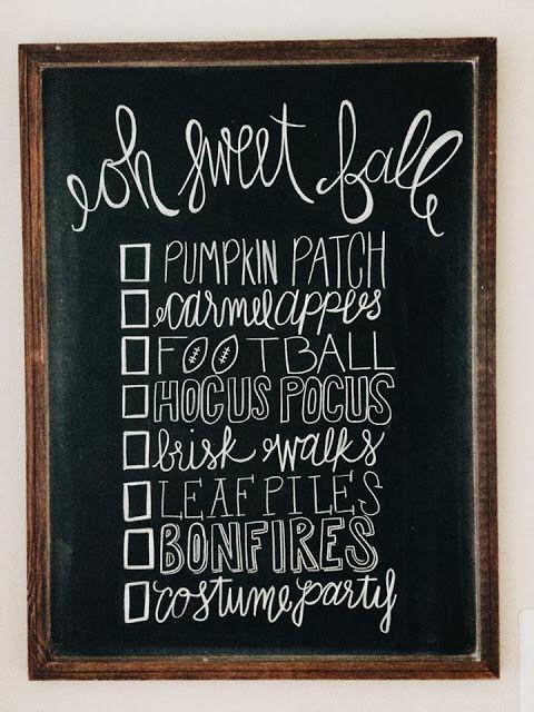 Fall Bucket List - Fall Chalk Art - Chalkboard - Life as Lindaman Blog - Fall…