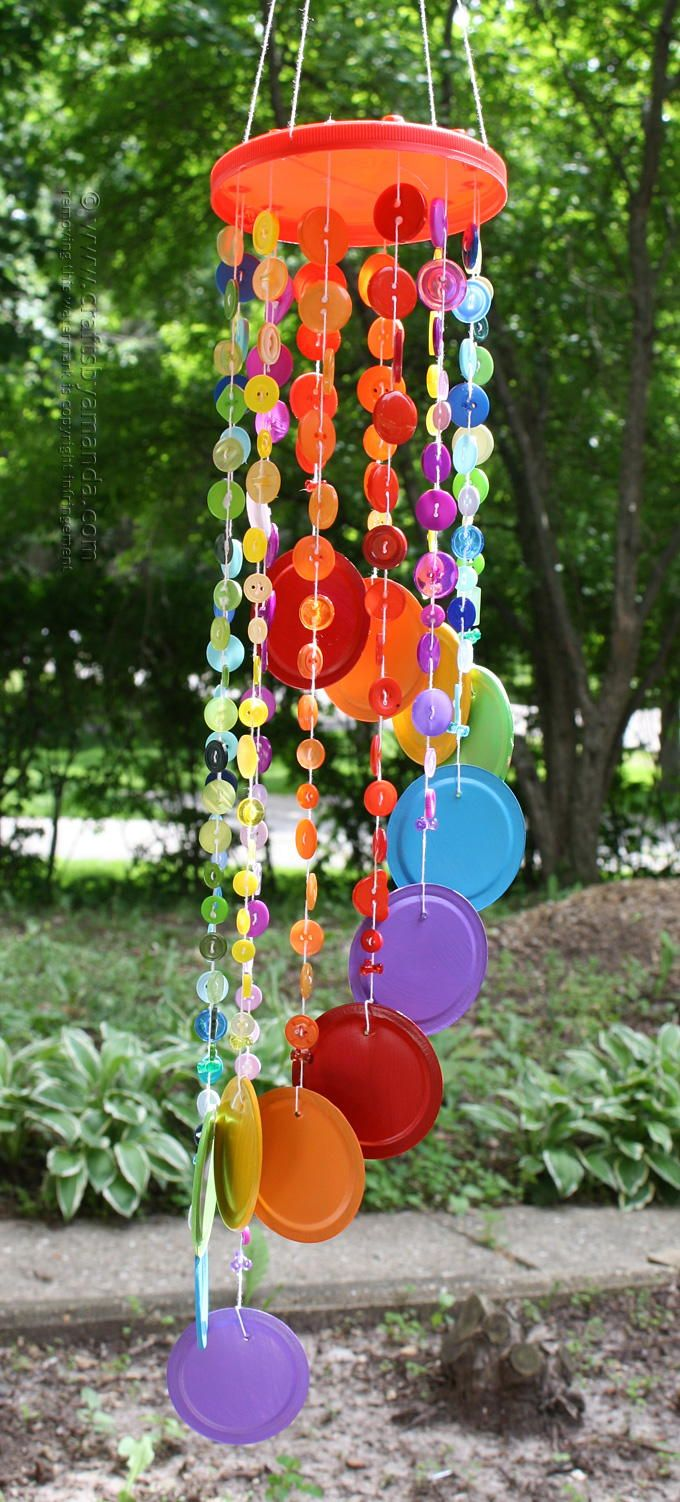 Rainbow button diy wind chime gardens summer and for kids for Homemade wind chimes for kids