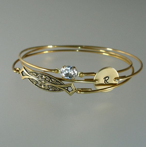 Hey, I found this really awesome Etsy listing at https://www.etsy.com/listing/178419888/bridesmaid-bangle-gold-bracelet-set-art