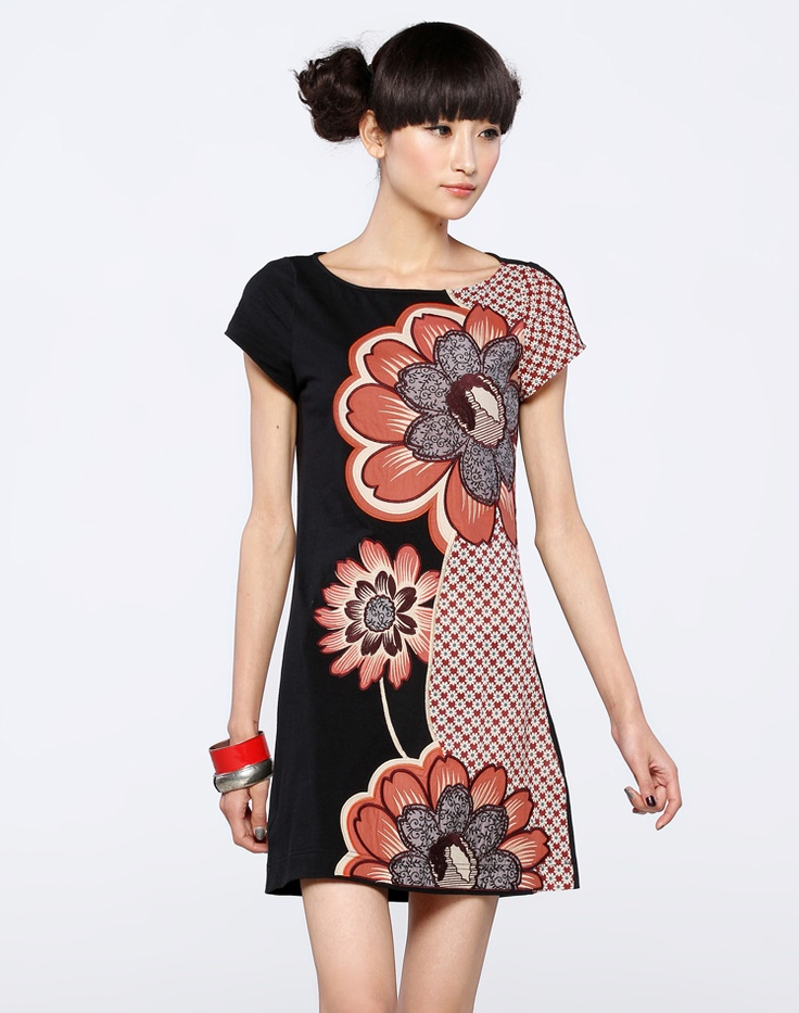 Spring Summer Applique Embroidery Knitted Short Sleeve Dress