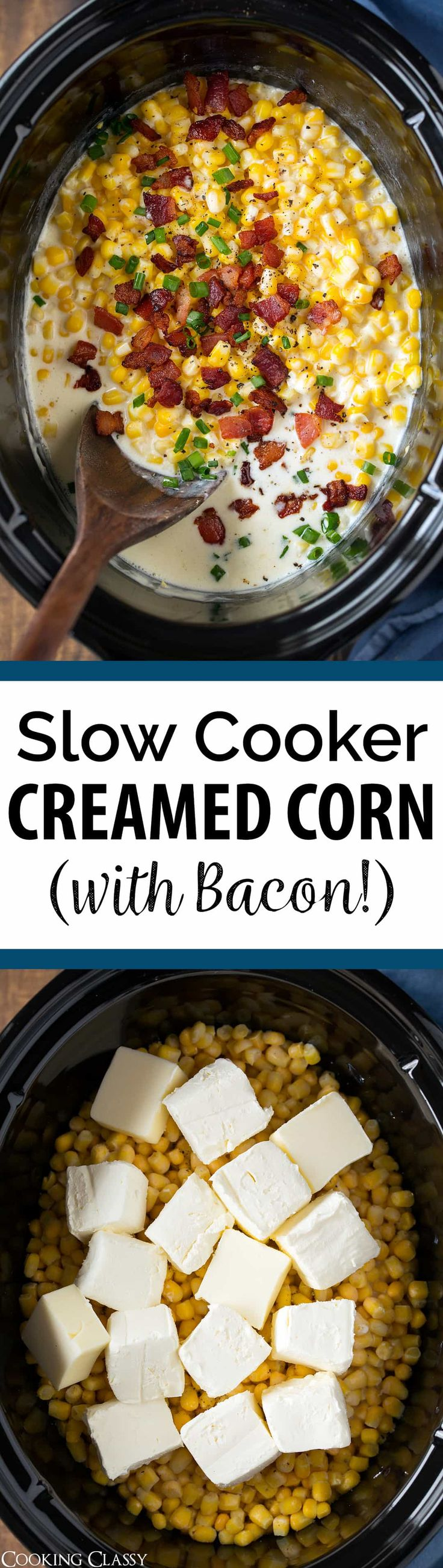 Slow Cooker Creamed Corn (with Bacon!) - The best creamed corn recipe! So easy to make and made extra delicious with bacon! A comforting side dish that's perfect for holidays. via @cookingclassy