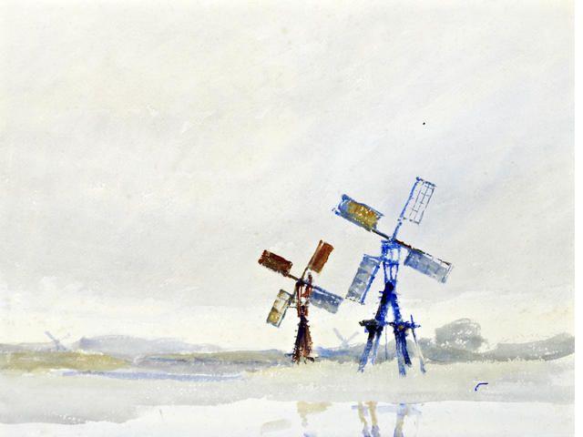 ARCHIBALD KNOX (Manx, 1864-1933) Windpumps by the shore
