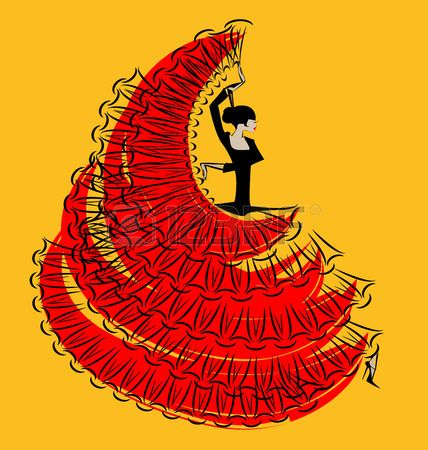image abstraite de danse noir rouge fille espagnole Banque d'images