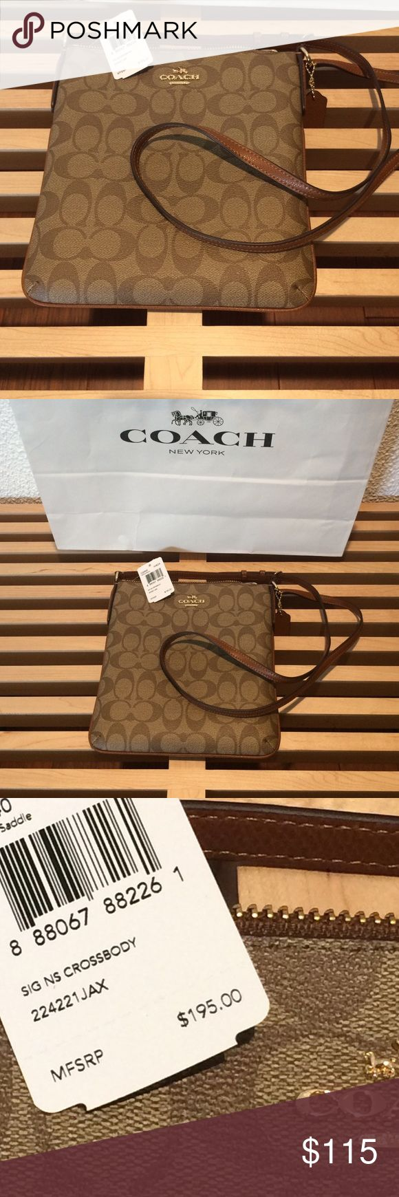Coach Swingpack Crossbody NWT Coach north/south swingpack crossbody. Leather trim and strap. Interior slip-in pocket, and outside compartment with snap. Make me an offer! Coach Bags Crossbody Bags