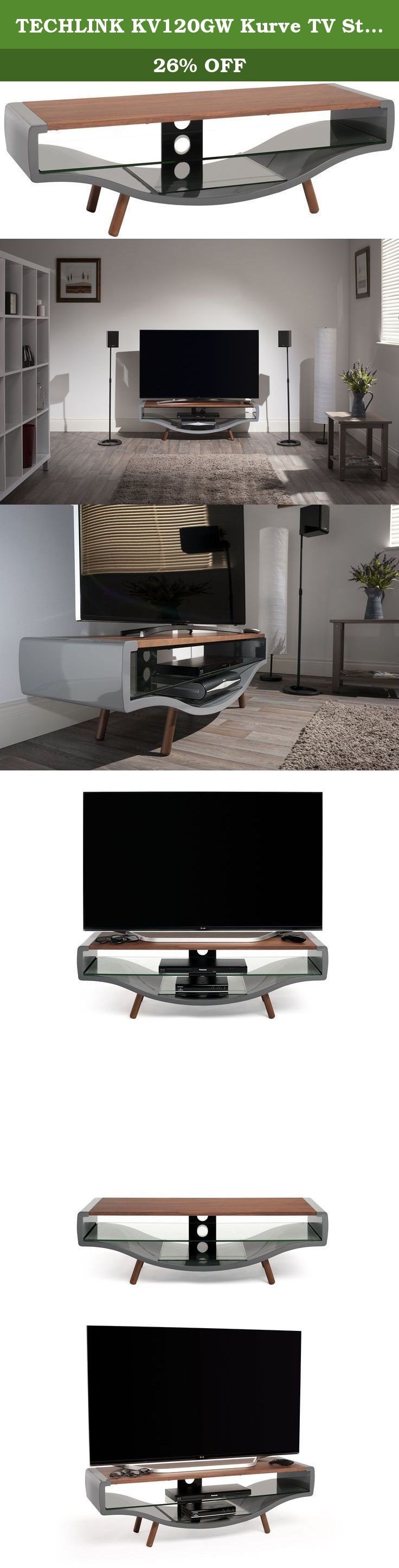 TECHLINK KV120GW Kurve TV Stand with Gloss Grey Frame and a Walnut Veneer Top Panel for Screens up to 65-Inch. The contemporary Kurve offers a striking alternative to the conventional TV cabinet. With elegant lines and practical shelving combined with discrete cable management, Kurve exceeds expectations. Finished in gloss grey with a choice of either light oak or walnut veneer top panel and legs, the Kurve will sit beautifully in any modern interior.