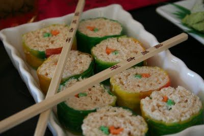 Rice Krispy Sushi (made with Rice Krispy treats, colored licorice and fruit roll-ups) at a Chinese themed birthday party