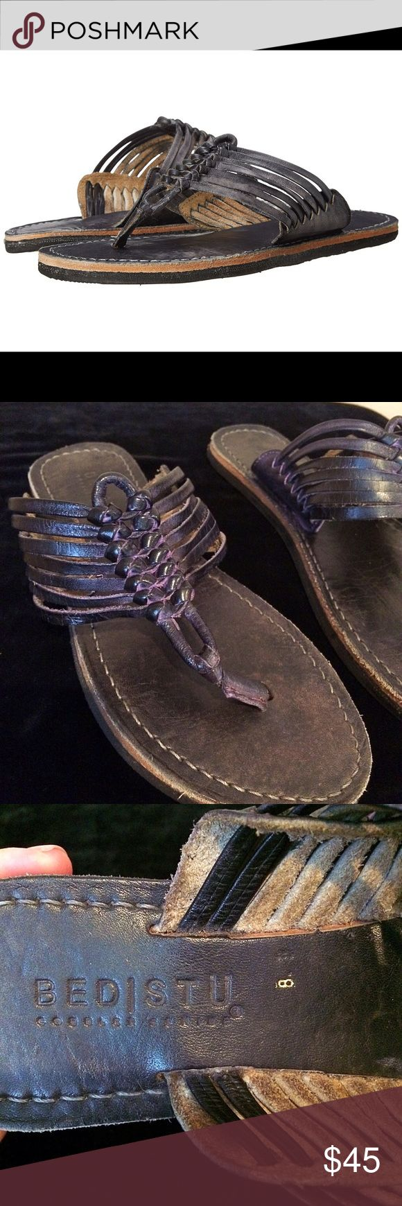 Bed Stu Riley sz 8 purple woven leather sandal Bed Stu size 8 Riley super cute leather woven purple sandals Thong-style construction. Distressed leather upper. Leather lining. Lightly cushioned leather footbed. Man-made sole. Imported. Product measurements were taken using size 9, width M. Please note that measurements may vary by size. Measurements: Weight: 8 oz Bed Stu Shoes Sandals