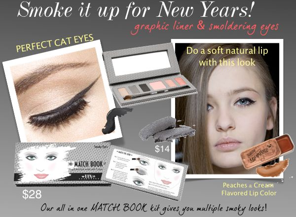 TINte Cosmetics Smoky eyes Match Book kit.. All in one kit includes 2 eye shadows, waterproof cream eyeliner, blush, 2 flavored lip glosses and dual ended shadow/liner brush and a lip brush all for $28
