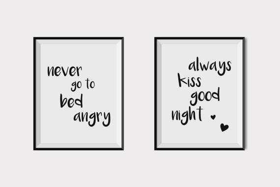 Always kiss me goodnight,Quote wall art,gift for couple,Love poster,Print at home art,Black and white art prints,Bedroom wall decor,set of 2  This listing is for an INSTANT DOWNLOAD of 2 PDF files of this artwork. Just purchase the listing and your print is ready to download instantly. Why not print one for a friend, or just for fun?  Once you purchase the poster you will receive the following files:  - 2 PDF high resolution (300 dpi) file with trim marks 8x10 inches.   If you would like…