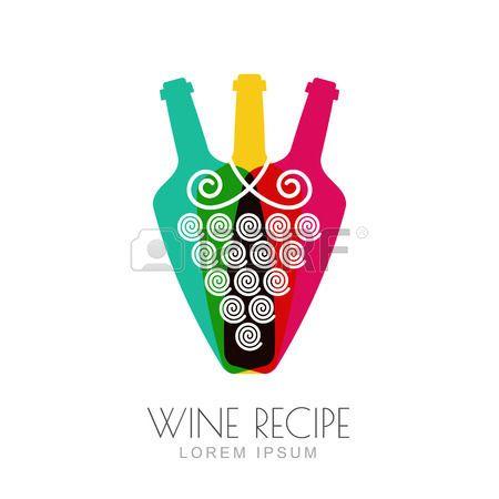Vettore della vite e bottiglie di vino, negativo spazio logo modello di progettazione. Colorful illustrazione di tendenza. Concetto per carta dei vini, bar menu, bevande alcoliche, etichetta di vino, ricetta vino di uva. photo