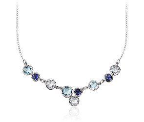 Sky Blue Topaz, White Topaz, and Iolite Bib Necklace 14k White Gold. #BlueNile #Mothersday