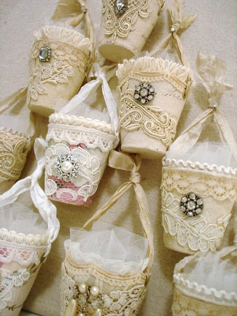 Keepsake vintage style candy cups. This is a beautiful way to use up remnant lace!