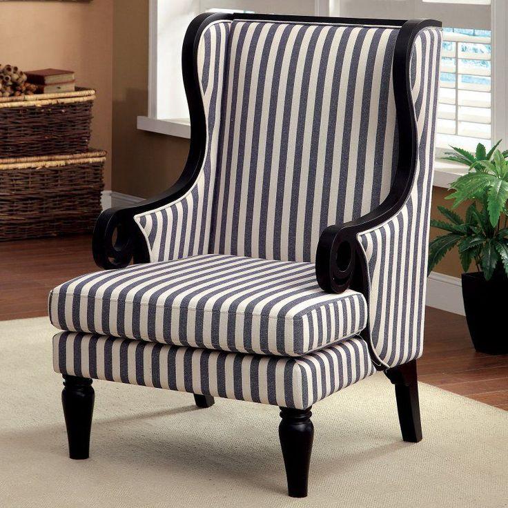 Furniture Of America Vaugh Stripe Fabric Upholstered Accent Chair   White /  Dark Blue   IDF