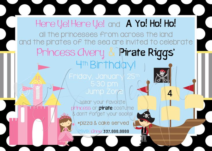 21 best Party Princess and Pirate images – Princess and Pirates Party Invitations