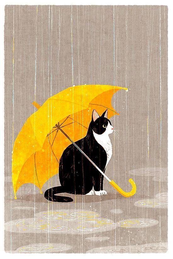 Schöne Abbildung einer Katze unter einem Regenschirm im Regen. #catillustratio …