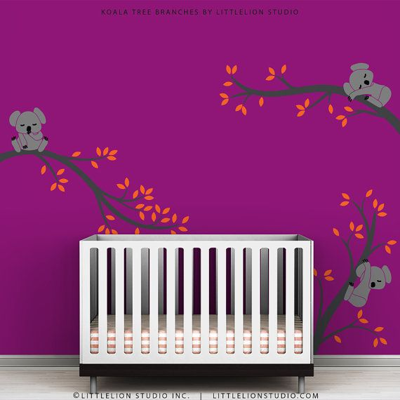 Baby wall decals gray and orange kids room decor wall sticker koala tree branches by - Stickers koala chambre bebe ...