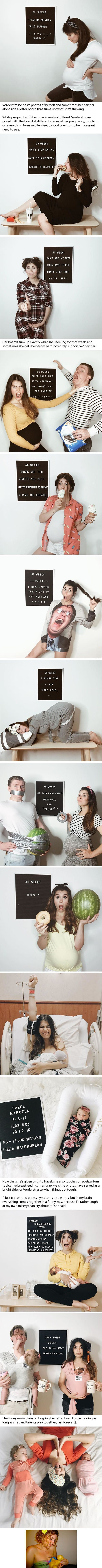 Mother Creates Hilarious Pregnancy Photos With Letter Board Messages