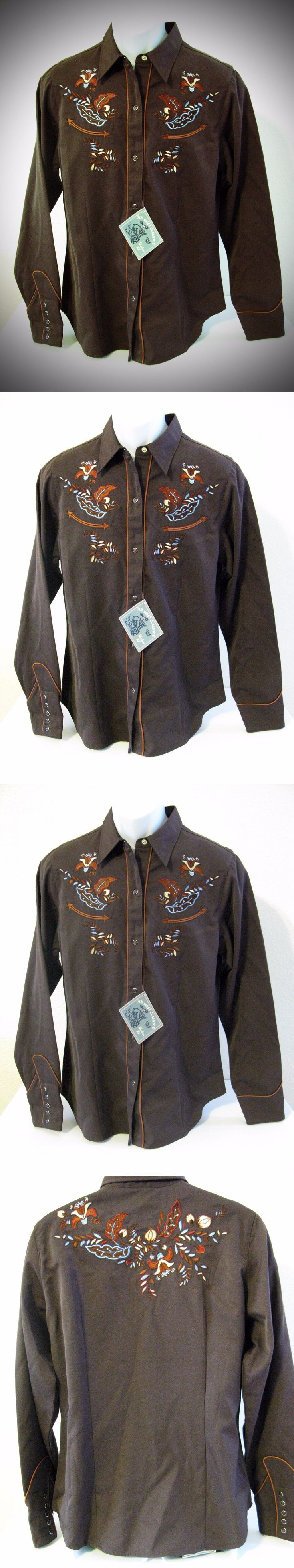 Other Rider Clothing 3167: Roper Ladies Brown Embroidered Long Sleeve Western Rodeo Show Shirt S. Large BUY IT NOW ONLY: $34.99