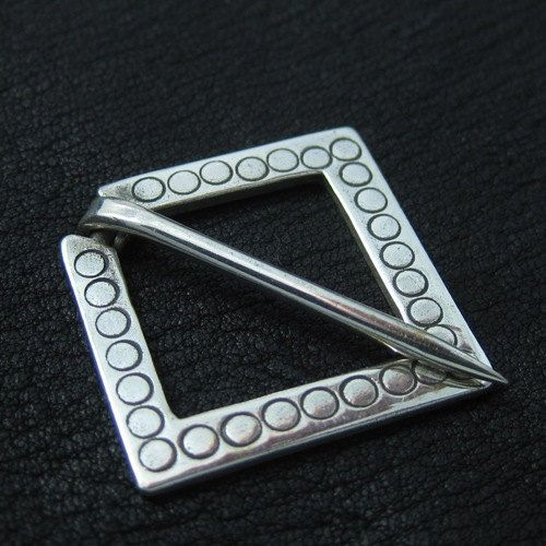 Silver medieval square pin by Sulik on Etsy