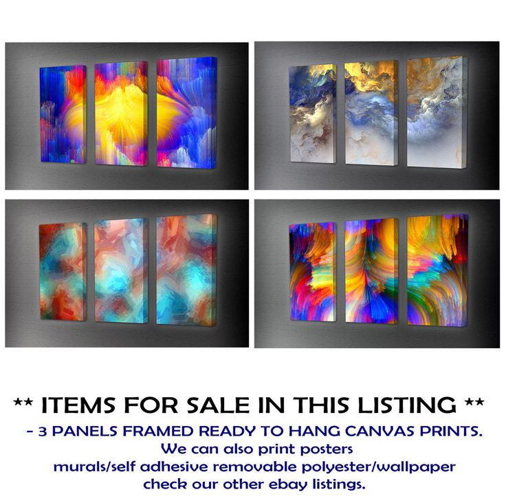 ABSTRACT, CLOUDS, LINES, FIBER GLASS CANVAS PRINT FRAMED, TRIPTYCH choose size
