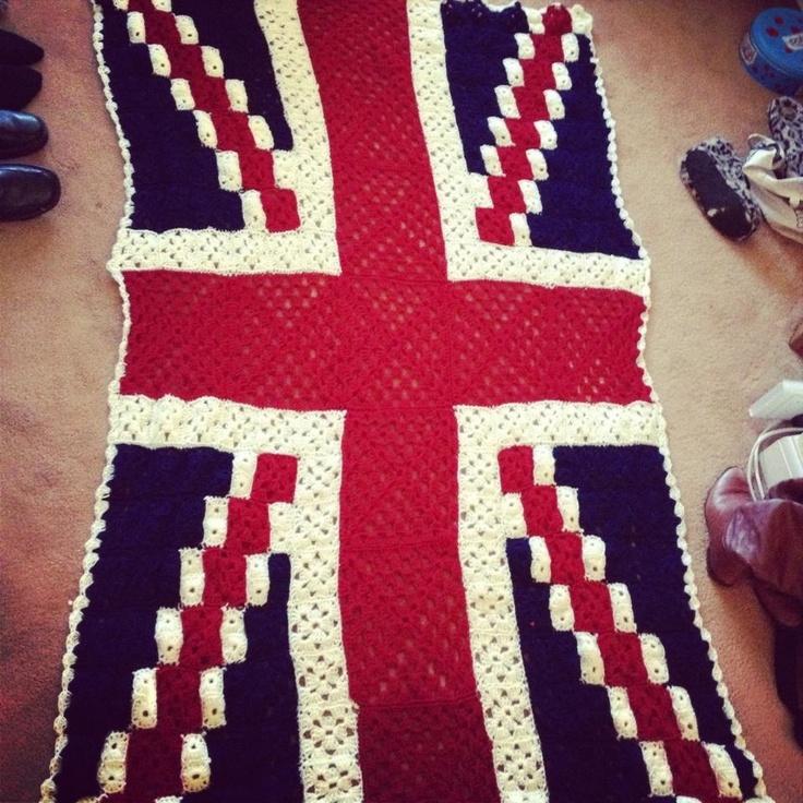 Crochet Pattern Union Jack : Hand crocheted large Union Jack blanket Crochet ...