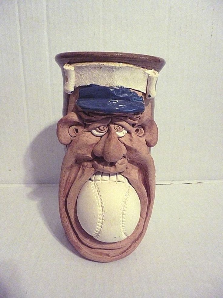 Handcraft Stoneware Funny Face 3D Baseball Art  Mug Signed By Jac Genovese #MugMugs