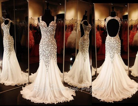 White Prom/Pageant Dress-Cap Sleeves-Open Back - 115JC046140515