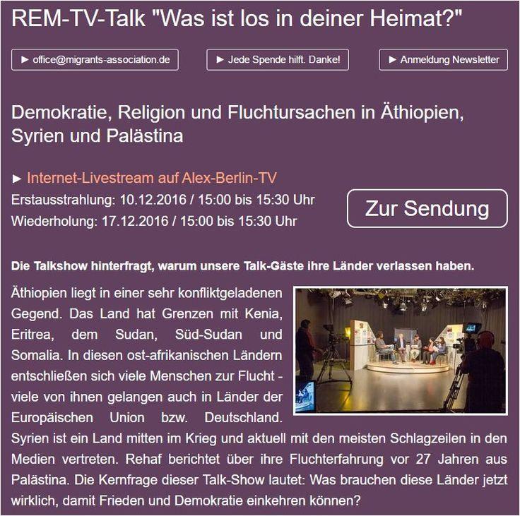 """Speak out - Sag deine Meinung! REM-TV-Talk """"Was ist los in deiner Heimat?"""" Demokratie, Religion und Fluchtursachen in Äthiopien, Syrien und Palästina"""