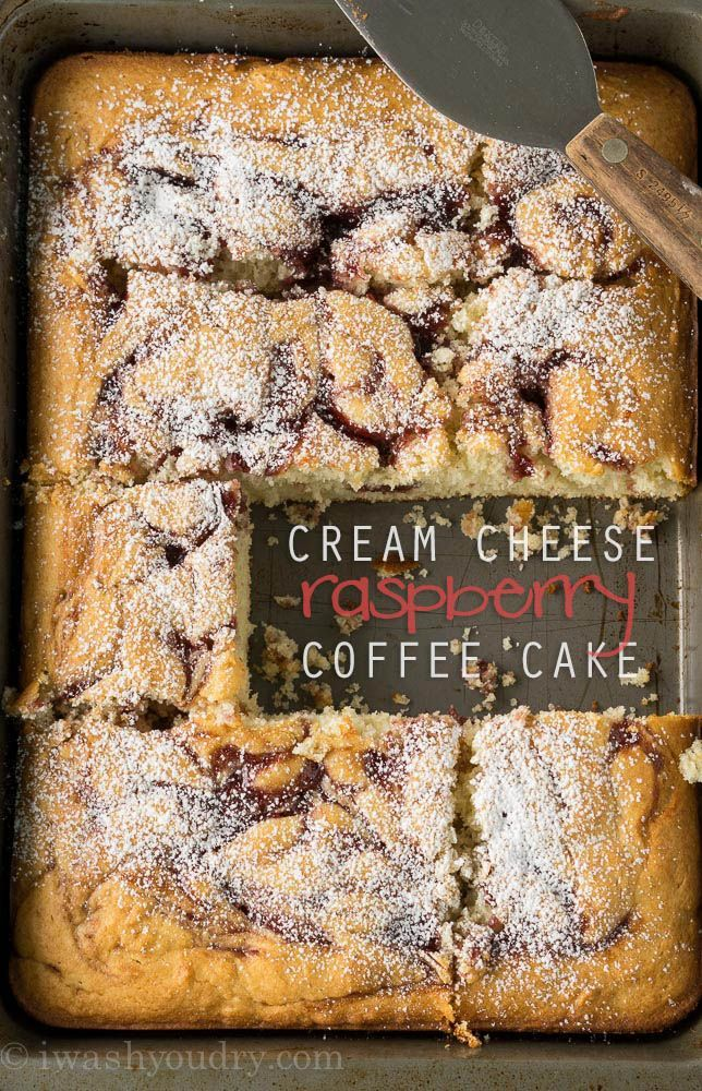Cream Cheese Raspberry Coffee Cake Super easy, from scratch, cake!