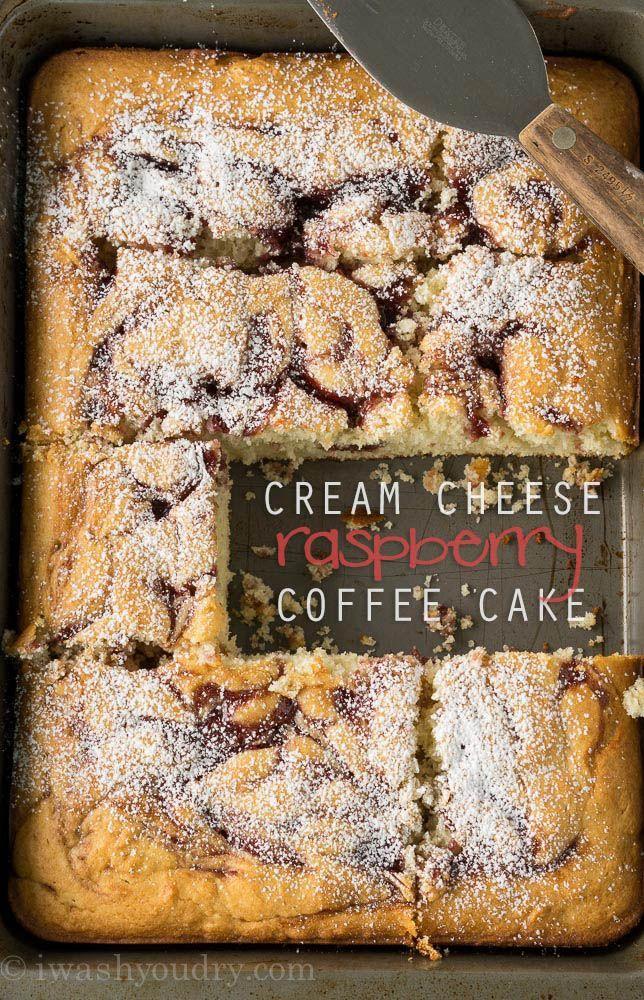 Cream Cheese Raspberry Coffee Cake Super easy, from scratch, cake!