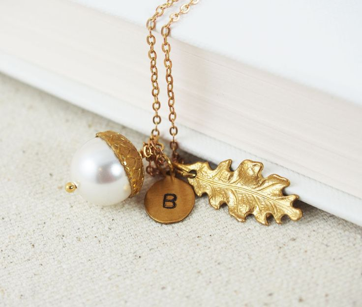 Acorn Oak Leaf Initial Necklace