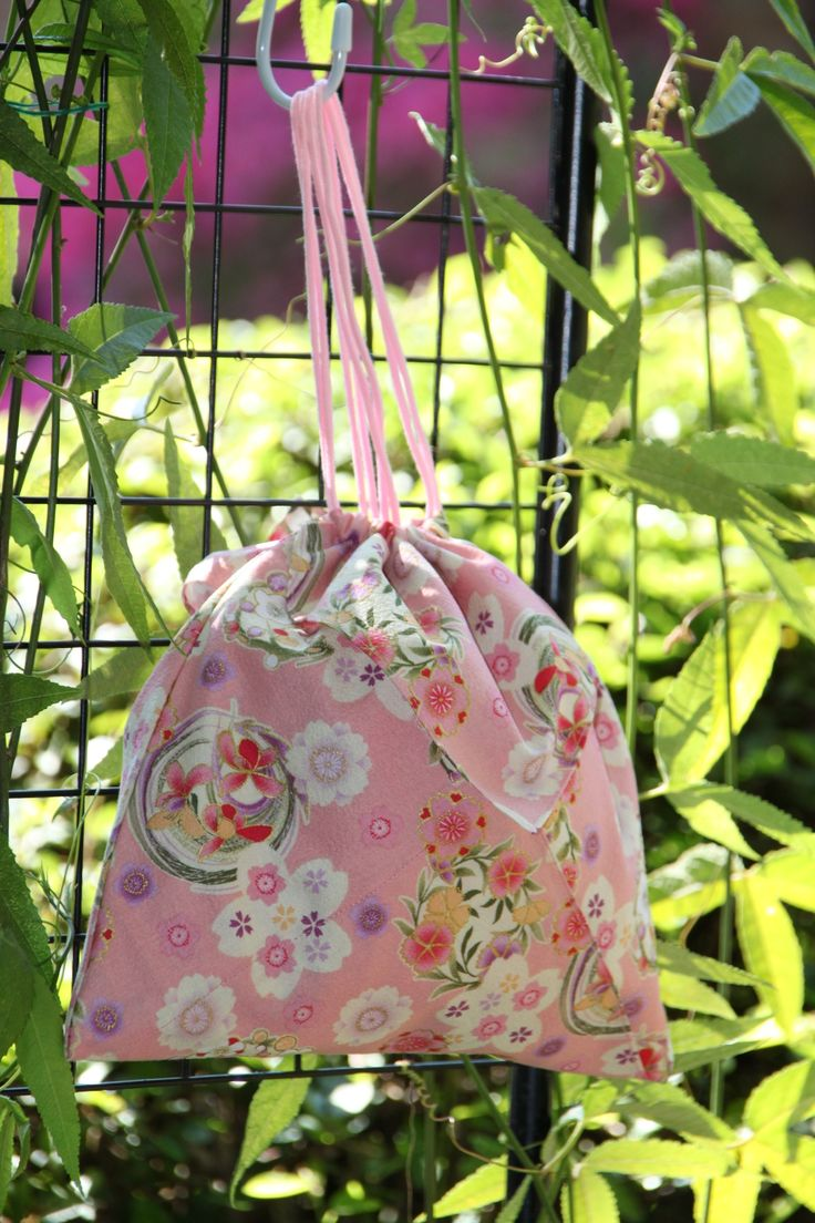 Origami bag in. Pink floral Japanese fabric