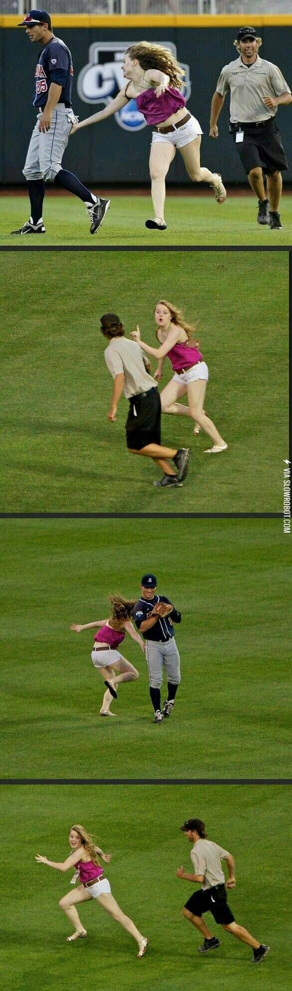 So this girl ran on the field to touch players' butts. How much money you think they put down for her to do that??
