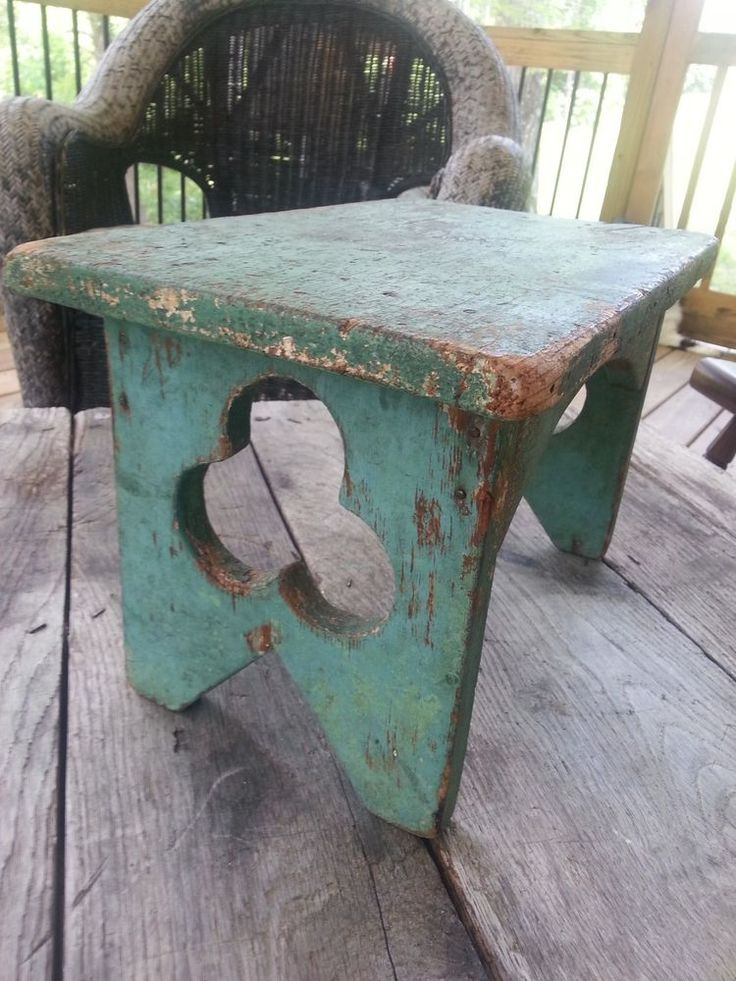 Authentic Primitive Green Paint Country Footstool Stool