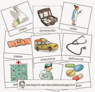 Kleuterklas: Activiteiten met woordkaarten bij het thema 'Ziekenhuis' (met tekeningen van Dagmar Stam)