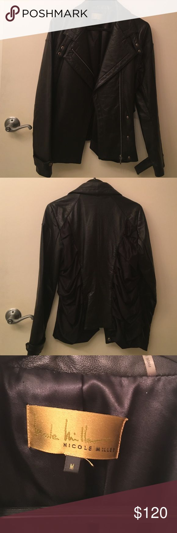 Nicole Miller Quilted Moto Leather Jacket Worn a handful of times. Originally came with shoulder pads which I had a tailor remove. Genuine leather!!!! Nicole Miller Jackets & Coats