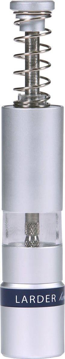 Salt and Pepper Manual Grinder -   These small salt and pepper mills are perfect for everyday family meals. Their funky design and elegant polished stainless steel finish makes them an essential LARDER kitchen item.  larder.com.au