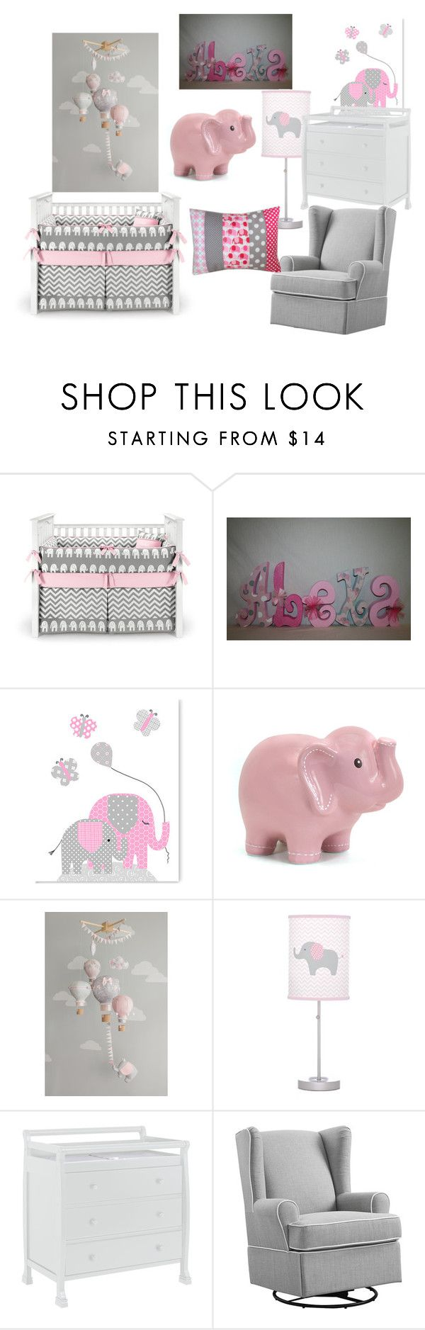 """Pink and gray elephant nursery"" by karaaltomare on Polyvore featuring interior, interiors, interior design, home, home decor, interior decorating, DaVinci and Eddie Bauer"