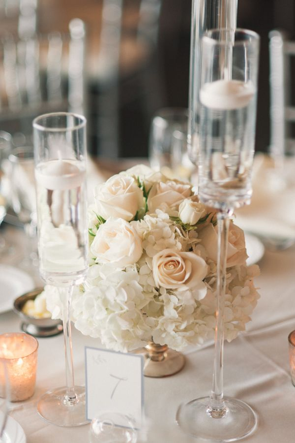 floating candles, low centerpieces with roses, hydrangeas ...