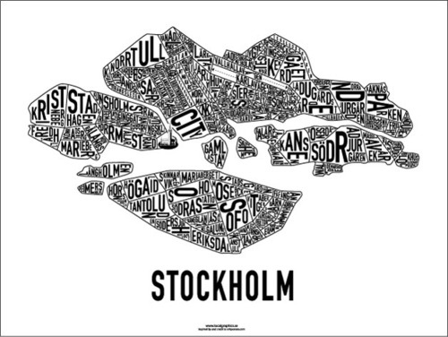 Stockholm Map: I'm so gonna print this one and put it in the kitchen! :D